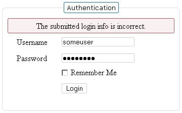 Ajax Login - Wrong Credentials