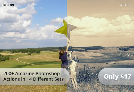 200+ Amazing Photoshop Actions from 14 Different Sets