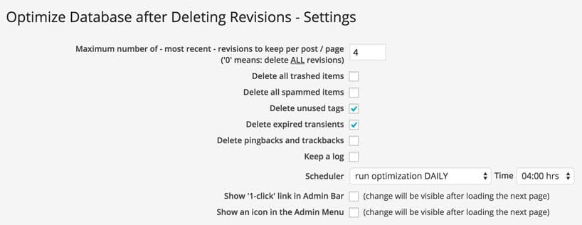 optimize database delete revisions